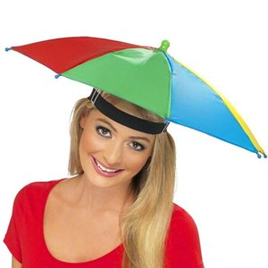 Outdoor Umbrella Hat Novelty Foldable Sun Day Rainy Day Hands Free Rainbow Folding & Waterproof Multicolor Hat Cap New Brand