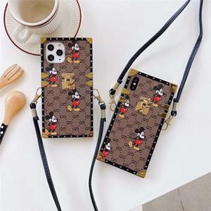 Caso sveglio Topolino telefono per l'iPhone 11 11promax 11Pro 6/7/8 Plus X XR XS Max Telefono quadrato protegge la copertura con cinturino