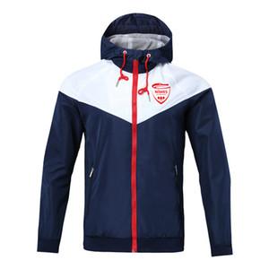 Nimes hombres chaquetas del fútbol con capucha de la cremallera de la capa de fútbol abrigo rompevientos, Nimes chaqueta deportiva de fútbol cazadora chaquetas de los hombres
