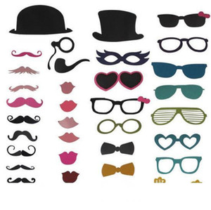 New 2015, 36 pcs lot Photo Booth Props Hat Bigodes Glasses Lips On A Stick Wedding Birthday Party Fun Favor