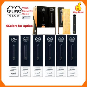Nuovo PUFF BAR GLOW monouso dispositivo Pods preriempita Starter Kit 280mAh Batteria 1.4ml Cartridge Vape Pen Codice di sicurezza LED vaporizzatori