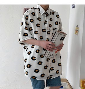 Men Flowers Harajuku Korean Shirts Short Sleeve 2020 Summer Women Hawaiian Streetwear Blouses Button Up Shirt Plus Size