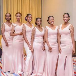 Rosa Perle Mermiad Brautjungfer Kleid billig lange V-Ausschnitt Hochzeitsgast Kleid schwarz Mädchen Prom Abend Party Kleider