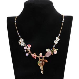 Statement Rosa Kristall Emaille-Blumen-Halskette Frauen Accessoires Chic Pine Cone Pflanze Quaste langkettige Halskette Schmuck XL006