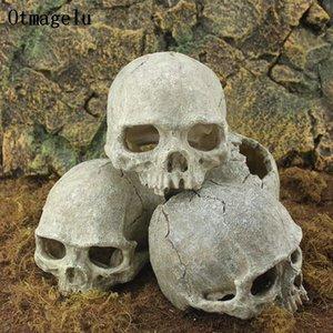 도마뱀 테라리움 파충류 숨기기 동굴 수족관 물고기 탱크 풍경 장식 장식을위한 수지 이스터 섬 머리 뼈 해골 동상