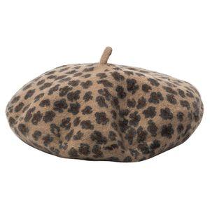 DOUBCHOW Женская Эластичный Шерсть Leopard шаблон Исполнитель Французский стиль Береты Шляпы 2019 Новый Девочки-подростки Baret Beanie Hat Flat