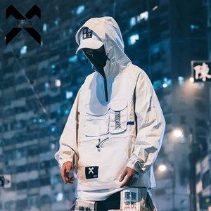 11 BYBB koyu Kargo ceketler Erkekler boy Rüzgarlık Mont çok cep Hip Hop Streetwear Hoody ceket erkek moda BB002