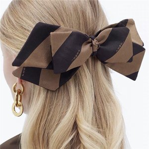 Stylish Stripe Party Hairpin Classic Letter Fashion Barrette Women Double Layer Bow Hairpin Girl Gift Barrette Hair Clip