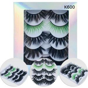 5 Paare starke Full Volume Wimpern Verlängerung Mischfarbe 5D Nerz-Haar-bunte falsche Wimpern Natürliche Wispies Fluffy Lashes
