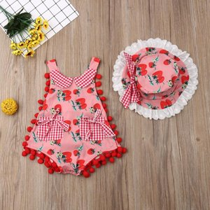 Summer Newborn Toddler Kids Tassel Ball Strawberry Romper + Hat Set Sleeveless Jumpsuit Outfits Clothes 0-24M