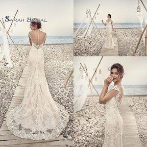 Playa vestido de novia más el tamaño de Trumplet Boutique vestido de encaje sin espalda wedidng 2020 Vestidos de novia atractiva larga