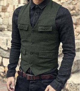 2019 Verde oscuro Chalecos de novio País Boda Lana Tweed Chaleco Slim Fit traje de los hombres Chaleco de vestir Vestido de abrigo Chaleco Farm Country B239