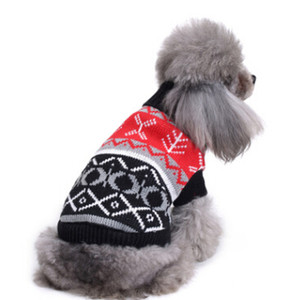 Christmas Pet Costumes Dog Turtleneck Sweater Winter Warm Dog Snowflake Reindeer Sweaters Xmas Puppy Teddy Coat