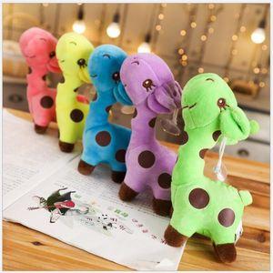 Cute colorful giraffe plush toys stuffed animals kids toys small pendant keychains creative birthday Christmas gifts