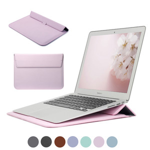New PU Leather Sleeve Protector Bag Stand Cover For Macbook 13 Touch Bar Laptop Case For Air 13 Pro Retina 12 15 Sleeve Bag