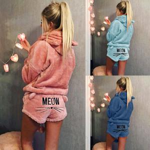 Swokii Donne Pajama Set 2019 autunno inverno flanella del fumetto caldo Pajamas Sleepwear animale gatto femminile pigiama con cappuccio Homewear Y200107