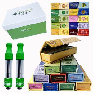 0.8ml Smart Cart Empty Vape Pen Cartridges 1ml Ceramic Coil Smart Vape Carts Thick Oil 510 Atomizer Magnetic Box E Cigarette