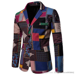 Lapel Neck Mens Blazers Casual Long Sleeve V Neck Single Breasted Mens Coats African Printed Panelled