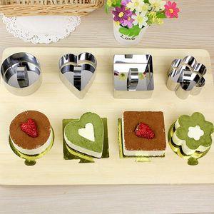 Backformen Mini-Mousse-Kuchen-Form Edelstahl-Quadrat-Runde Herzform Kuchen Mousse-Form-Mousse Ring Kitchen Tools WX9-1819