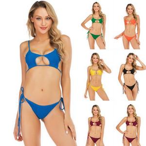 2019 Bikini sexy para mujer Nuevo estilo Traje de baño doblado Triángulo para mujer Bikini puro para nadar, traje de baño deportivo flexible con estilo, tienda en línea
