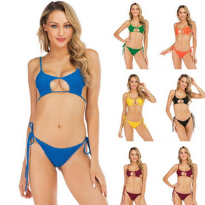 2019 Sexy Bikini Women Yeni Stil Katlanmış Mayo kadın Üçgen Mayo Saf Bikini yüzme, mayo spor esnek şık, online mağaza