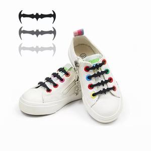 12 шт./компл. Силиконовые шнурки эластичный пластик без галстука шнурки белый черный серый силиконовые туфли кружева детская форма летучей мыши шнурки
