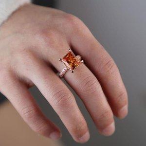 rosa anillo de compromiso de oro con cuadrados grandes de óxido de circonio cúbico cuadrados anillos de dedo banda cz eternidad completos de joyería de moda