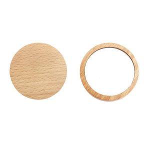 Pequeño espejo de madera espejo portátil de bolsillo redondo de madera mini maquillaje espejo del banquete de boda regalo personalizado logotipo personalizado zc1037