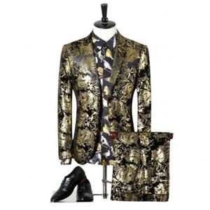 2 adet (ceket + pantolon) ile Parti Elbise Slim Fit Kostüm Homme Erkek Suit baskı Lüks Erkekler Wedding Erkekler Suit 2020 Yeni Moda