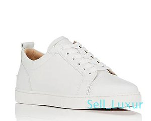 Low top red bottom sneakers for men black leather&Spikes fashion casual men women shoes 2018 Designer leisure big size