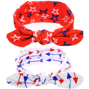 Baby 4th Of July Headband Girls Elastic Cat Ears Hairband Kids Fashion Bowknow Star Print Hair Accessories Party Gift LT-TTA1023