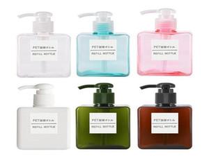 250 ml Petg Pompası Kare Losyon Şişeleri Duş Jeli El Dezafiği Şişe Kozmetik Alt Ambalaj Plastik Şişe 6 Renkler