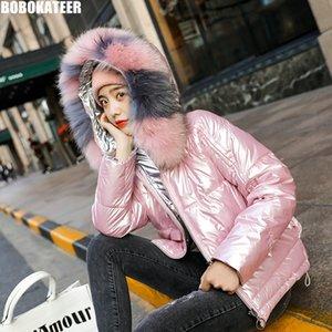 BOBOKATEER Over Größe Rosa Kawaii Jacke Frauen beiläufige lose Black Winter Kurzmantel Frau Jacke Weibliche Blue Mode 2019