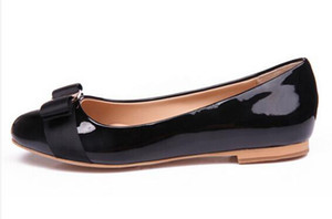 Frauen Wohnungen Ferse Marke Echtes Leder Ballettschuhe Frau Fliege Designer Wohnungen Damen Zapatos Mujer Sapato Feminino Lackleder Bogen