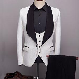 Custom Made Men Suits 14 Color Pattern and Black Groom Tuxedos Shawl Satin Lapel Groomsmen Wedding Best Man ( Jacket+Pants+Vest+Tie ) L383