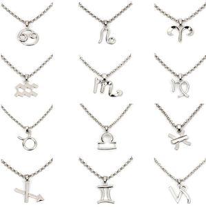 new styles Twelve Constellations Pendant Necklace Aquarius Pisces Taurus Leo virgo Libra Scorpio Sagittarius Capricorn Charms free shipping