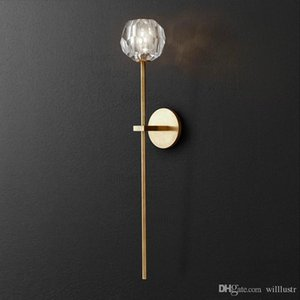 Willlustr K9 Boule de Cristal Long Sconce Modern Wall Sconce Light Loft Metal K9 Crystal Lamp America Iluminación Restaurante Hotel
