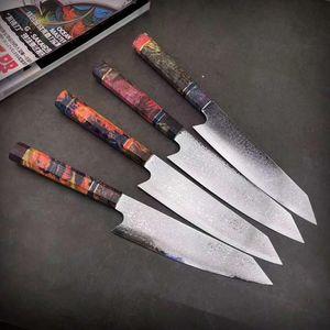 Damascus Steel Chef faca japonesa Santoku Utility facas afiadas Cleaver Slicing Steak Kitchen Ferramenta Faca estabilizada Moda punho de madeira