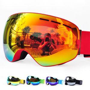 GOG-3100 doppi strati UV400 antinebbia polarizzato occhiali da sci per gli uomini donne grandi occhiali maschera da sci per casco sci snowboard