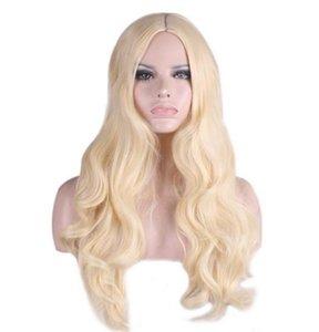 السيدات الأزياء الأوروبية والأمريكية مجعد طويل أنيمي الشعر باربي الأميرة الذهب الأبيض ضوء موجة كبيرة منتصف