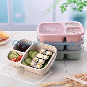 Trigo Paja Bento Box lonchera 3 cuadrícula Estudiante Cajas de almacenamiento de alimentos al aire libre que acampan merienda fruta Lunch Box