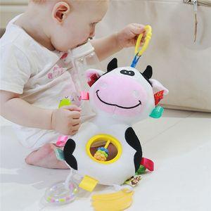 Peluche Sonagli Dog Cartoon Baby Cow Giocattoli infantili animali Passeggino Hanging Sonagli bambino appena nato teether Giocattoli