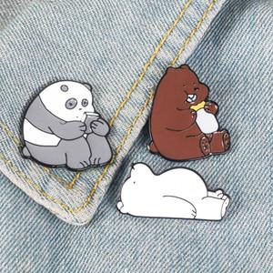Animal Cartoon Pin Nue Ours Mignon Grizzly Panda Ice Bear denim Émail Broches Kawaii Revers Broches Badges Cadeaux De Mode