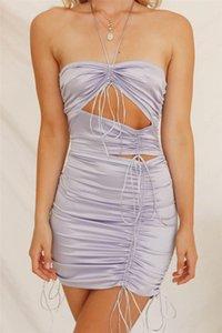 Sıcak Ins Stil Bayan Elbise Moda Doğal Renk Pileli Kolsuz Elbise Seksi Hollow Out BODYCON Elbiseler