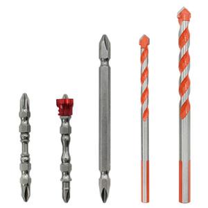 5Pcs mit magnetischen Ring-Kreuz-Bit Multifunktions Tile Glass Drill Set-Keramik-Fliese Bohrer Steinbohrer-Satz für Ziegel