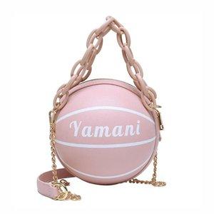 2020 bolsa de bolsa de balón con la mano nueva personalidad de la mujer bolso de la Ronda femenina PU de la forma de baloncesto de cuero de PU de la muchacha monedero de la cadena crossbody