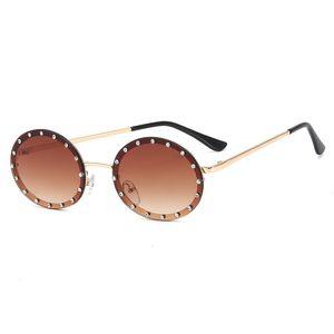 Lady oval Sunglasses Shiny Diamond Frame For Women Brand Glasses Designer Male Female Shades
