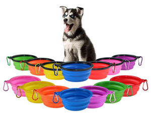 Pet Bowns Silikonwelpe zusammenklappbare Schüssel Haustier Fütterungsschalen mit Klettern Schnalle Reisen Tragbare Hundefutter Container Meer Versand DHE155