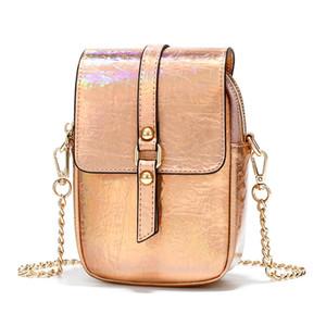New reflective laser women Korean leisure ladies mobile phone bag fashion shoulder Messenger bag girl Shopping Wallets