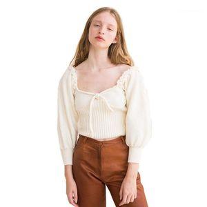 Düşük Kesim Fener Kol Kısa Triko Dişi Tasarımcı Giyim Kadın Retro Kare Yaka Triko Lace Up ilmek